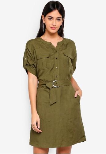 Hopeshow green Short Sleeve Dress with Tie Belt 86119AAB308CA2GS_1