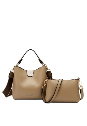 Swiss Polo beige SWISS POLO LADIES 2 IN 1 TOP HANDLE SLING BAG- BEIGE E66CEACC4A4FF5GS_1
