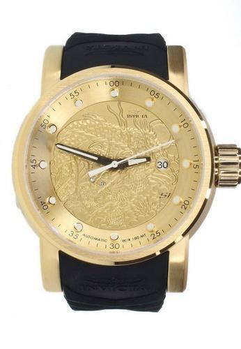 INVICTA gold Invicta S1 Rally Men 48mm Case Black, Beige Silicone Strap Gold Dial Automatic Watch 15863 w/ Cap IN968AC0FG44SG_1