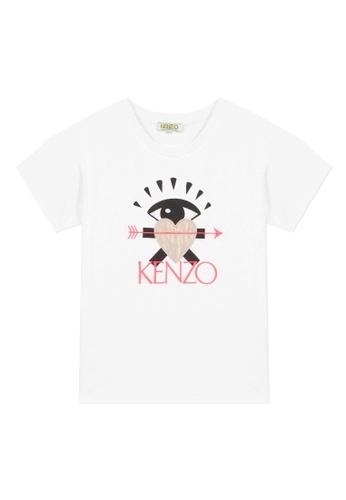 KENZO KIDS black and white and pink and multi KENZO GIRLS T-SHIRT. 882B1KA7CA333BGS_1
