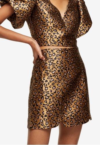 TOPSHOP brown Animal Print Jacquard Skirt A3497AA344CD48GS_1