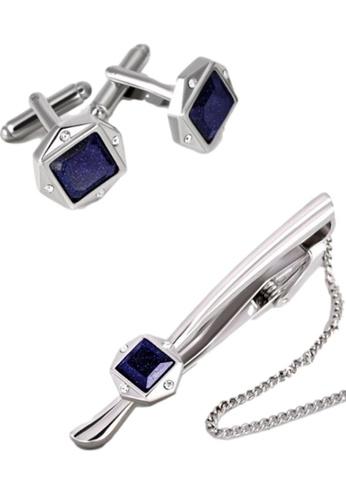 Kings Collection blue Blue Crystal Square Tie Clip Cufflinks Set (UPKC10100S) C5EDEAC0C7D14DGS_1