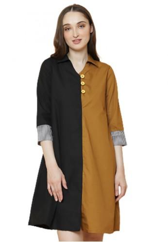 Gina Alana black and brown Gina Alana Two Tone Evangeline Dress 79A19AA630F2E0GS_1