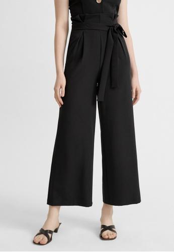 Pomelo black Semi Pleat Paperbag Pants - Black A097DAAEF14C15GS_1