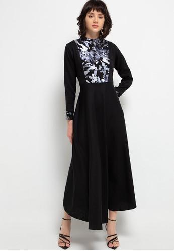 FAME black Front zipper maxy dress 71D63AA01BDA75GS_1