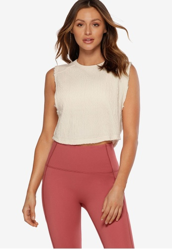 Lorna Jane white Luxe Textured Cropped Tank Top D1425AADBFFB59GS_1