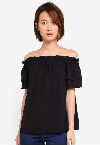 Dorothy Perkins black Black Frill Sleeve Bardot Top 8C495AA888935FGS_1