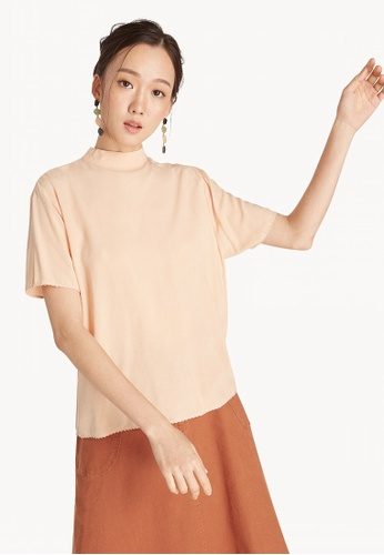 c807b10c803168 Shop Pomelo Mock Neck Bow Tie Top - Apricot Online on ZALORA Philippines