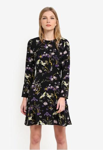 WAREHOUSE black Floral Bird Print Dress WA653AA0S4PWMY_1
