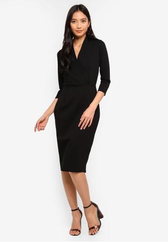 CLOSET black Wrap Pencil Skirt Dress A991DAAA2B13EAGS_1