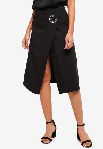 Hopeshow black Split Hem 3/4 Skirt With Belt 3A7EDAA6509B4BGS_1