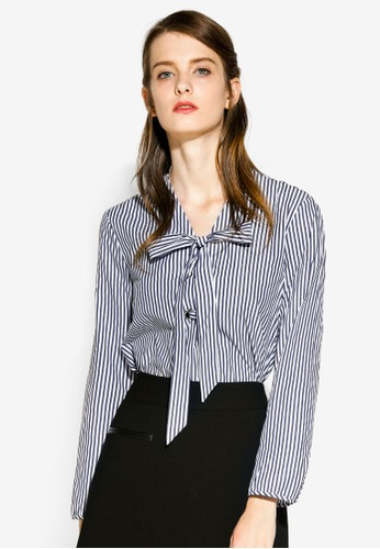 Hopeshow multi and navy Relaxed Fit Blouse With Ribbon Tie A6F24AA0D6BA62GS_1