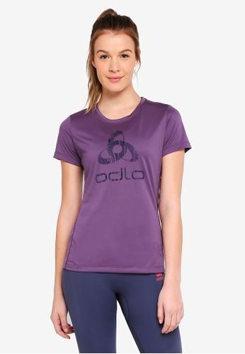 Odlo purple Core Light Print BL Short Sleeve Crew Neck Top FD607AA7720391GS_1