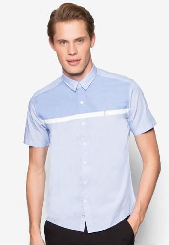 拼色貼身短袖襯衫、 服飾、 服飾Yishion拼色貼身短袖襯衫最新折價