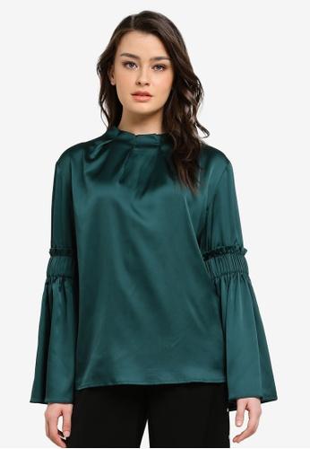 Zalia green Pleated Neck Frill Sleeve Top E25F7AAD88C17BGS_1
