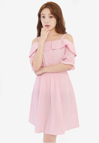 Yoco pink Checkered Cold Shoulder Dress 3A6D1AA9ABCF36GS_1
