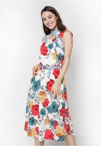 nicole Mandarin Collar Sleeveless Floral Printed Maxi Dress 5FDC3AA0078193GS_1