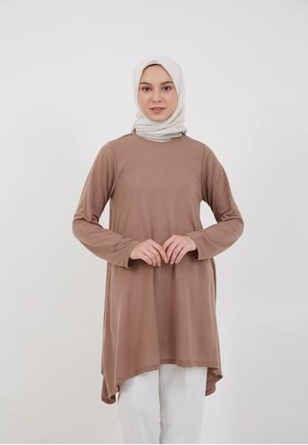 Hijabenka brown Sephia Foni Plain Blouse Milo FAAE9AA22E67E6GS_1