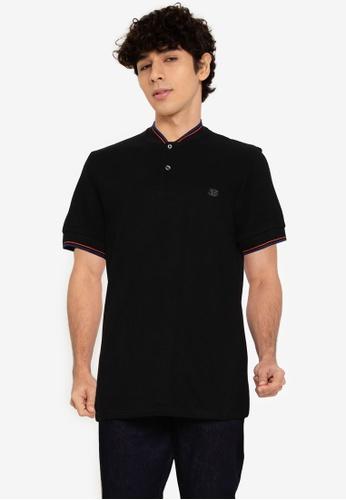 Ben Sherman black Baseball Collar Polo E2BBCAA291D7DDGS_1