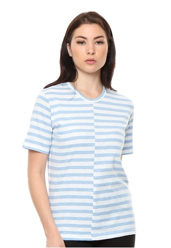 et cetera blue Mismatched Stripe T-shirt 9994AAA00C83BBGS_1