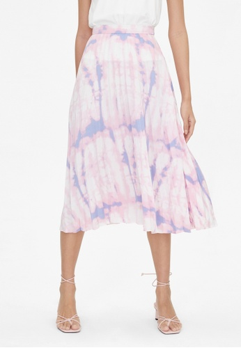 Pomelo pink Tie Dye Pleated Skirt - Pink A8777AA4402F9EGS_1