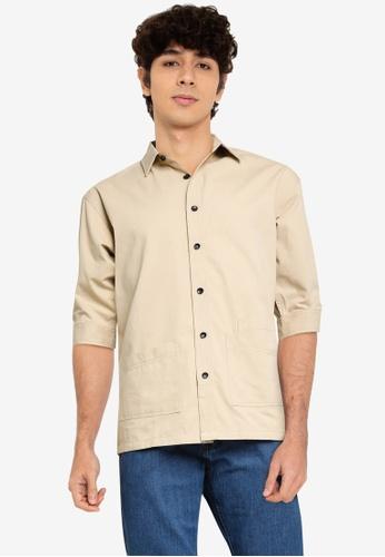 Fidelio brown Hype Plain Mid-Sleeves Shirt CE2B0AAE7CDD98GS_1