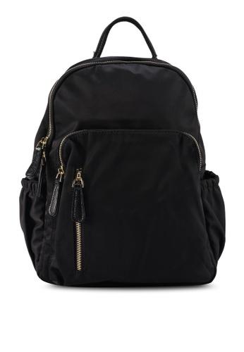 NUVEAU black PU-Trimmed Nylon Backpack 7260BAC2EA497FGS_1