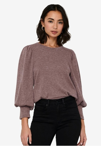 JACQUELINE DE YONG purple Emma Puff Sleeve Pullover 25660AA7C63099GS_1