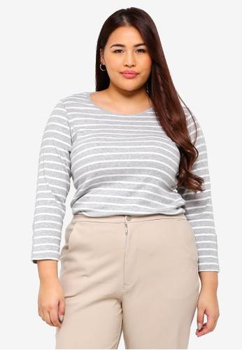 52cd6231ecf13 Dorothy Perkins grey Plus Size Grey Stripe Popper Cuff Tee  CEF57AAA4F7E29GS 1