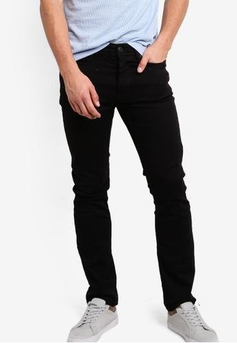 Burton Menswear London 黑色 Black Stretch Slim Fit Jeans BU964AA79OGEMY_1