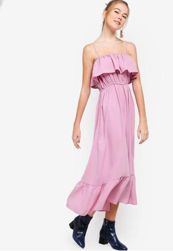 Something Borrowed pink Ruffled Cami Midi Dress E8A5EAA453042DGS_1