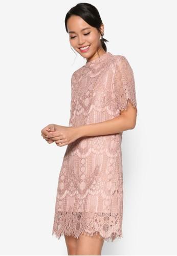 寬短袖高領蕾絲直筒連身裙, 服飾,esprit outlet 香港 洋裝