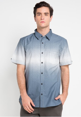 Tolliver blue and multi Square Short Sleeve Shirt TO631AA0VUVCID_1