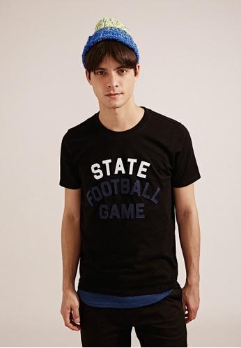 Life8 black Casual American Football Crew Neck T-Shirt - 03783 - Black LI283AA11TEESG_1