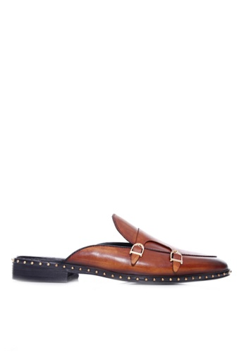Zeve Shoes brown Zeve Shoes Mules - Cognac Tan Belgian Double Monk Strap with Studded Trim (Hand Painted Patina) 94790SH04B7D28GS_1