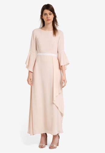 Zalia beige Contrast Waistband Maxi Dress BF64CAAC54FE27GS_1