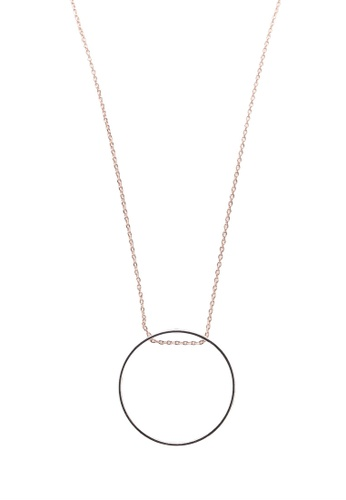Orelia London silver Mix Plate Long Open Circle Necklace OR747AC0SC3PMY_1