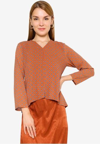 Summer Shop orange Meera Printed Top 45E07AAD797A9BGS_1