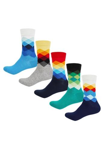 IDENTITY multi Men's 5-in-1 Printed Long Socks - Argyle AAF31AAE67771DGS_1