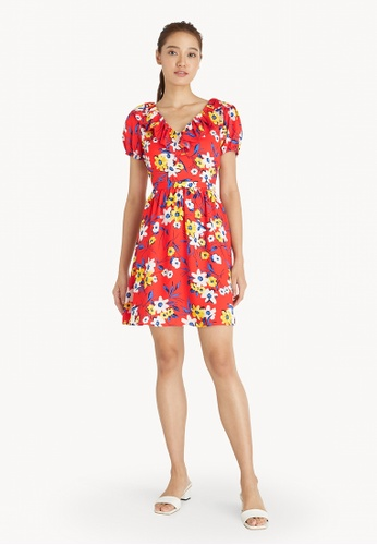Pomelo red Mini Floral Puff Sleeve Dress - Red 8021CAAAA55082GS_1