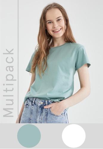 DeFacto green 2-pack Short Sleeve Round Neck T-Shirt D82EBAA8287041GS_1