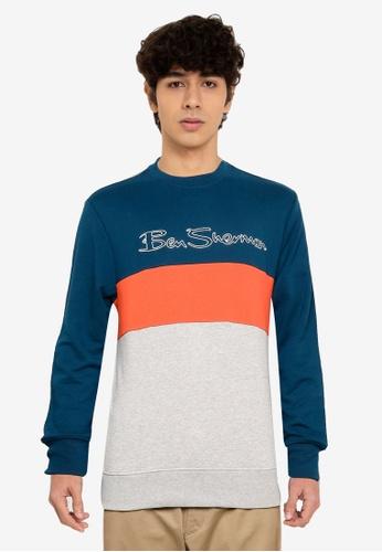 Ben Sherman blue Sports Logo Sweatshirt 5E73CAAF1F17ACGS_1