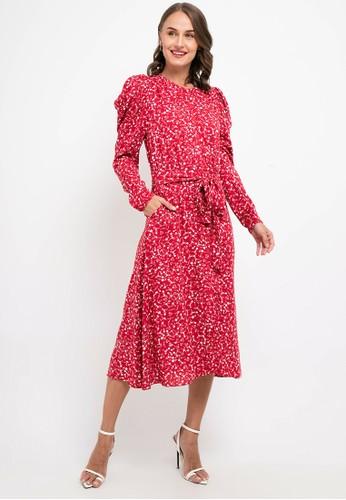 HOPE red Zaya Midi Dress Draped Sleeves DE714AA7F02587GS_1