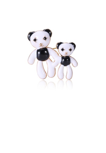 Glamorousky black Simple and Cute Plated Gold Bear Brooch with Cubic Zirconia A465EACF38CB2BGS_1