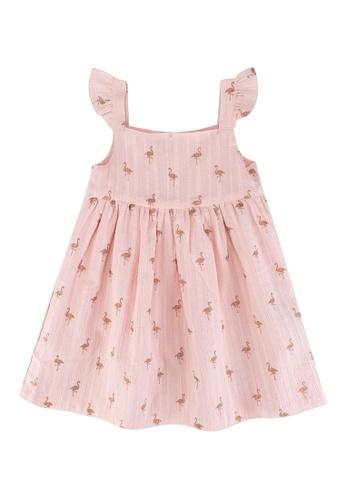 DU PAREIL AU MÊME (DPAM) pink Light Pink All-over Flamingo Print Dress DF828KA46807D5GS_1