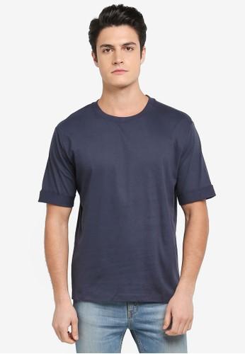 MANGO Man blue Rolled-Up Sleeves T-Shirt 1E3D6AA78F03E4GS_1
