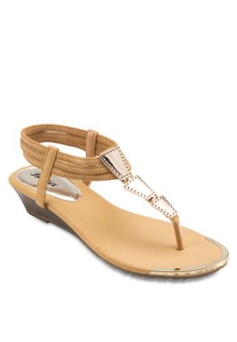 金飾T 字帶涼鞋,zalora退貨 女鞋, 楔形涼鞋