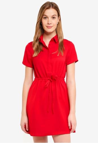 ZALORA BASICS pink Drawstring Shirt Dress E41F8AA3A8CE50GS_1