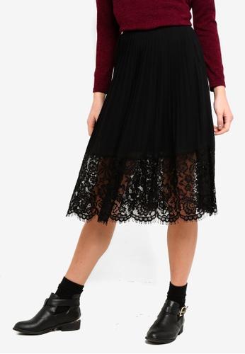 OVS black Pleated Lace Midi Skirt 8B827AA4433E0CGS_1