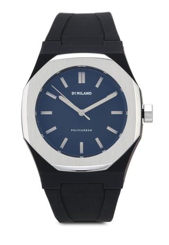 D1 Milano black and grey Premium Black Silver Bezel Rubber Strap Watch 3BB65AC5F01882GS_1